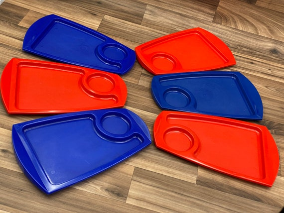 Vintage Picnic set, Plastic Picnic plates with cup holders, Trailer Camping Glamping Rustic Cabin, patriotic