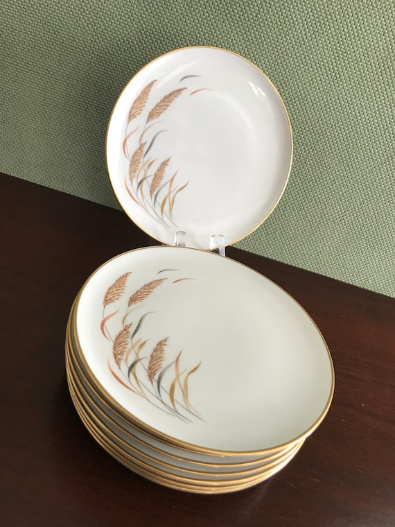Royal Jackson Angelus Parisienne China Salad plates Wheat Grass pattern with Gold trim 8 Vintage Bread and Butter plates Dessert plates