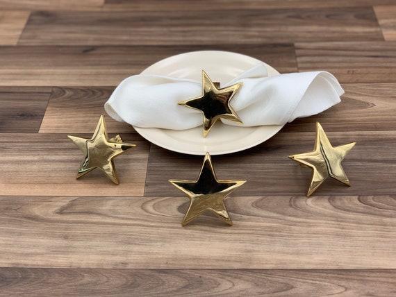 Vintage Solid Brass Star Napkin rings 4 piece set, dinner Napkin rings, Napkin Holders, Patriotic