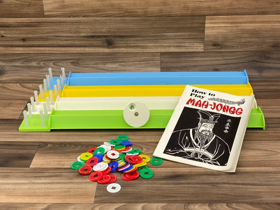 Vintage Mahjong Game Trays and Intruction Book, Chinese Game of Four Winds Accessory pieces, Mah-Jongg Tile Game replacement pieces
