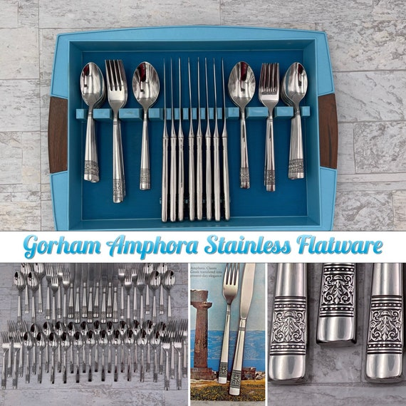 Vintage Flatware set, Gorham Amphora Silverware Set, service for 8 in original tray