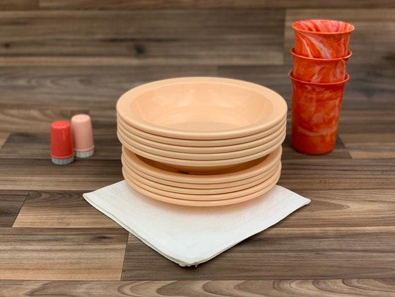 Vintage Melmac Dish set, Peach Dallas ware bowls Texas ware Plates Picnic dishes plates bowls Vintage Trailer Camping Glamping Rustic Cabin