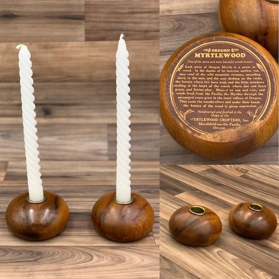 Vintage Myrtlewood Candlestick Holders Rare Myrtlewood round Candle holders, Exotic wood