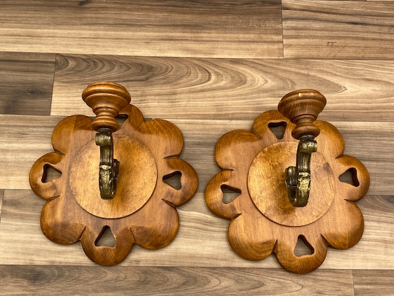 Vintage Carved Wood Wall sconces, pair of Wall Candle holders, Rustic Home decor