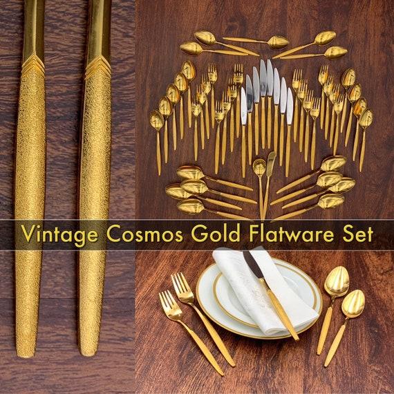 Vintage Gold flatware set service for 8 Gold plated Silverware set by Cosmos Wedding gift