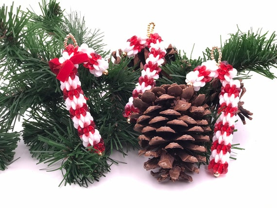 Vintage Beaded Christmas Candy Cane Ornaments, 1970s Beaded Christmas Ornaments, 3 Handmade Christmas Candy Cane Ornaments