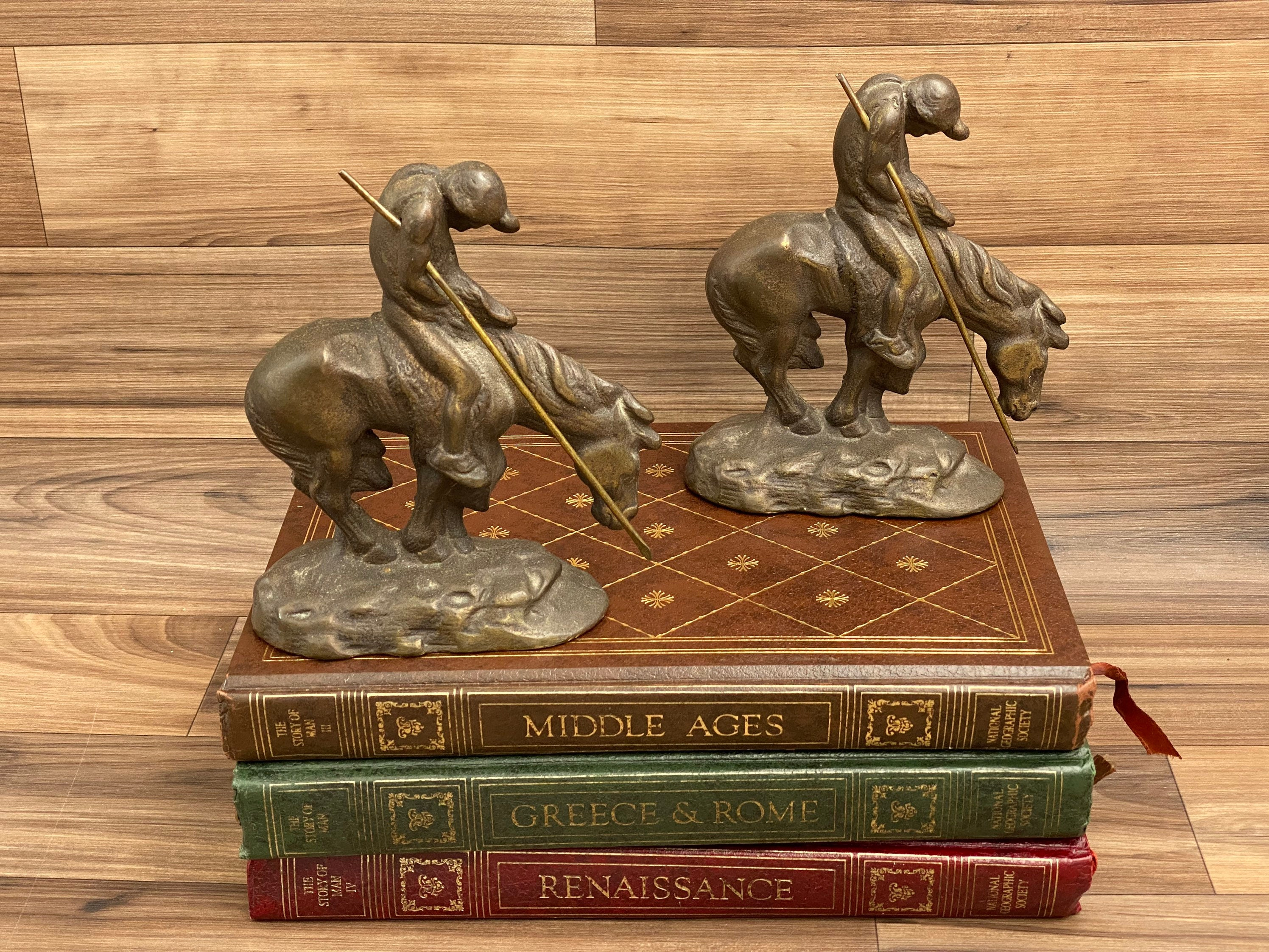 Vintage End of the Trail Faux Bronze With Patina Horse Statue Bookend