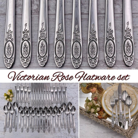 Stainless Flatware set, Victorian Rose Service for 8, Floral handle Vintage Silverware set
