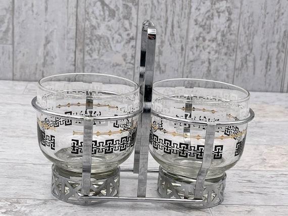 Vintage Condiment caddy silver Greek key pattern, MCM glassware, mancave