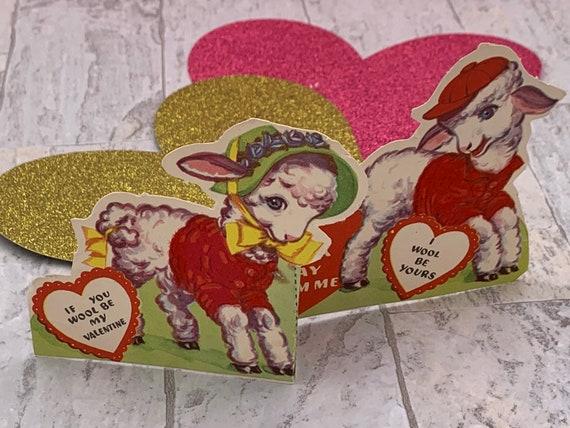 Vintage Flocked Valentines Day cards, folding Little lambs die cut card, red flocking, Valentine ephemera, anthropomorphic lambs