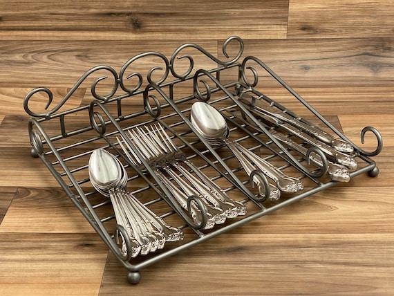 Metal Flatware caddy, Buffet silverware holder, Utensil bin, Rustic Home decor, Kitchen organization