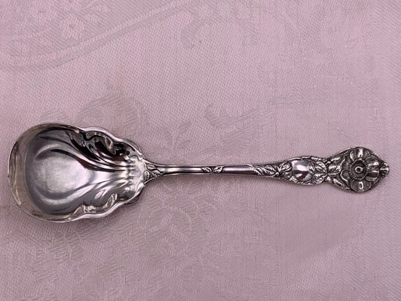 Antique Sterling Watson Wild Rose sugar shell Spoon, 1905 collectible sterling Hallmark silver Spoon Mechanics Silver Co