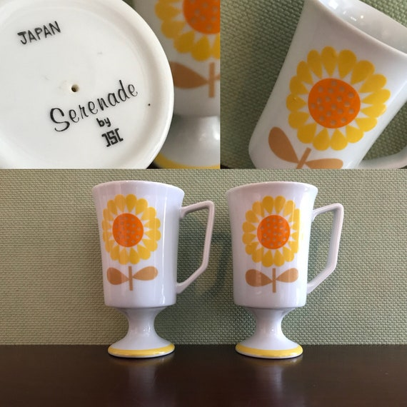 Vintage Sunflower Mugs Pair of JSC Japan China Mug set Yellow Serenade Pattern Pedestal Coffee mugs Gift for Her Foodie Gift Country Kitchen
