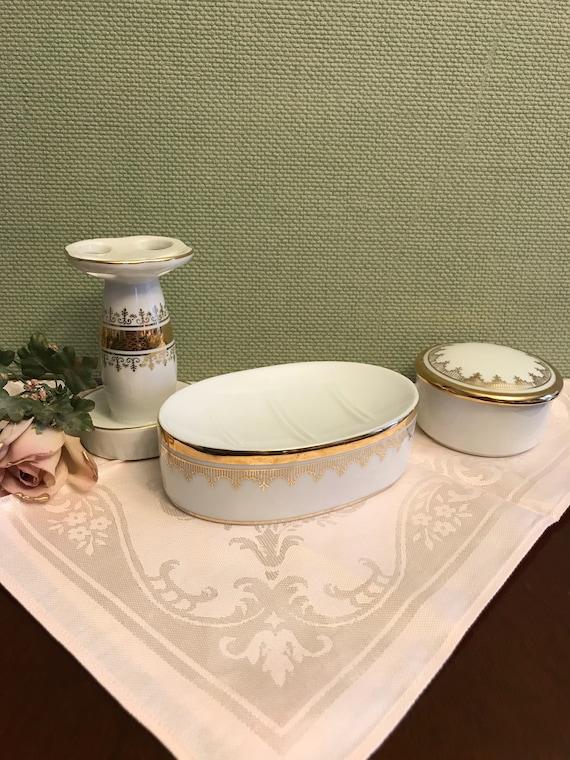 Vintage bathroom vanity set, White Gold bathroom set, I Rice soap dish trinket box, Andre Richard toothbrush holder