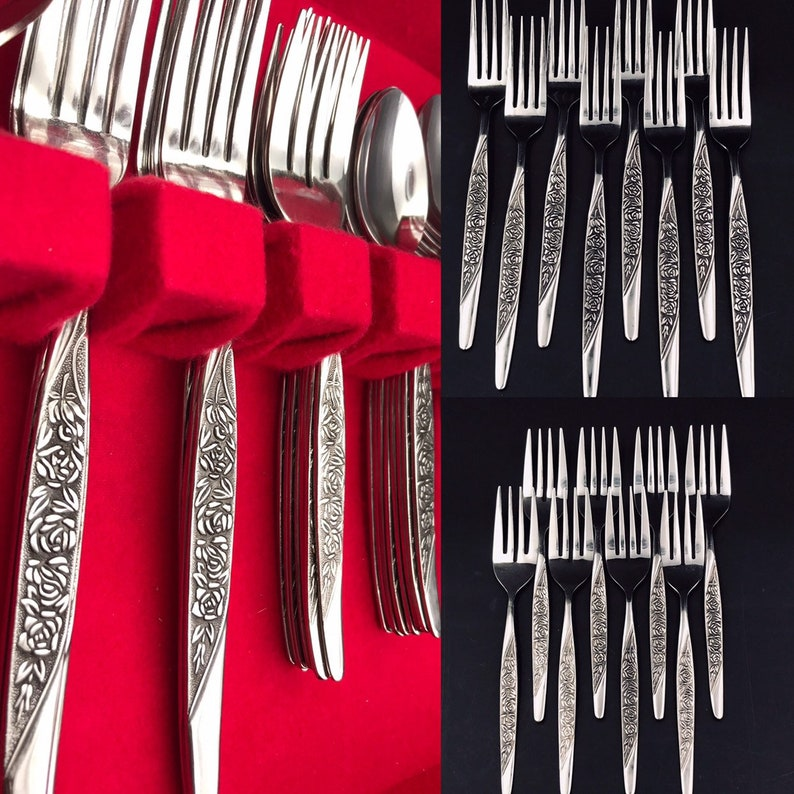 Vintage Caress by National Stainless Flatware set Vintage Silverware chest service for 8 glossy Stainless Floral embossed silverware