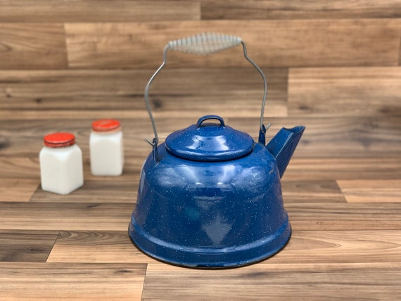 Vintage Graniteware Kettle, Enamel hot water pot, rustic farmhouse, country kitchen, Glamping, Camping Gear, rustic Cabin