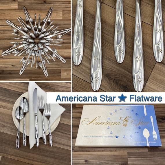 Americana Star Flatware set, Mid Century Celestial Flatware, Vintage Silverware Set, Patriotic Decor