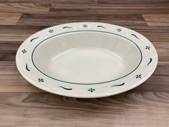 Vintage Longaberger Pottery Oval Vegetable Serving Bowl Woven traditions Heritage green