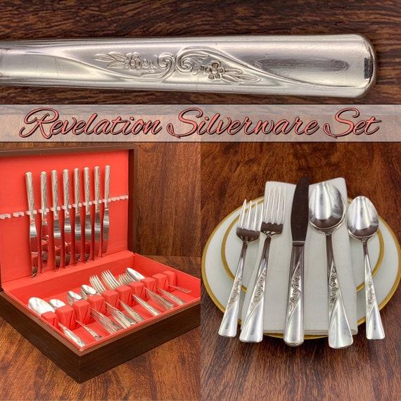 Vintage Revelation Silverware Set, Service for 8, Floral silverware Flatware set Silverware chest Cottage Chic