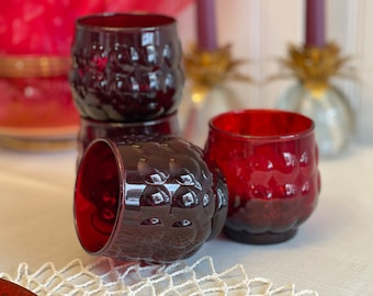 Old Fashioned Bubble Ruby Glasses, Anchor Hocking Drinkware, Vintage Tumblers, 4 Piece set