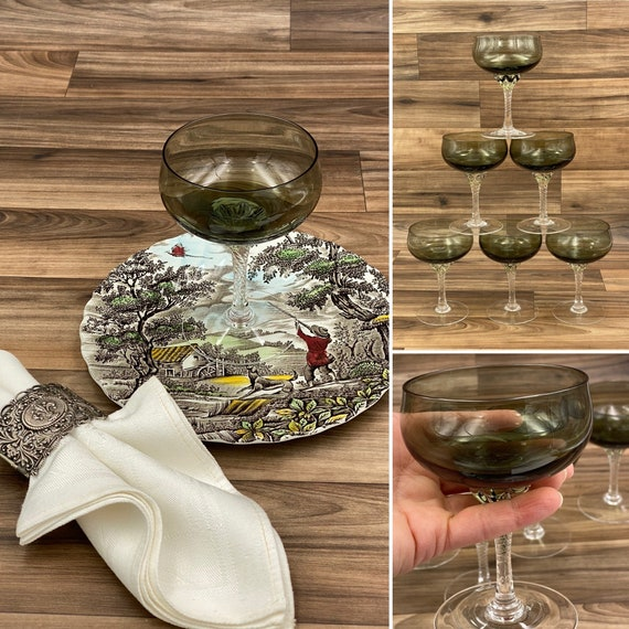 Vintage Coronation Stemware by SASAKI, Smoke Glass Drink ware, set of 6 Parfaits, Mid Century Glasses