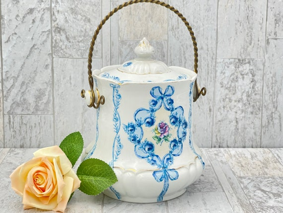 Antique Cookie Jar, English Biscuit Barrel with handle and lid, Candy dish, Collectible Gift for her