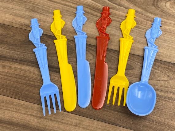 Vintage Planters Peanuts plastic flatware lot, Mr Peanuts collectible Memorabilia, fork knife spoon