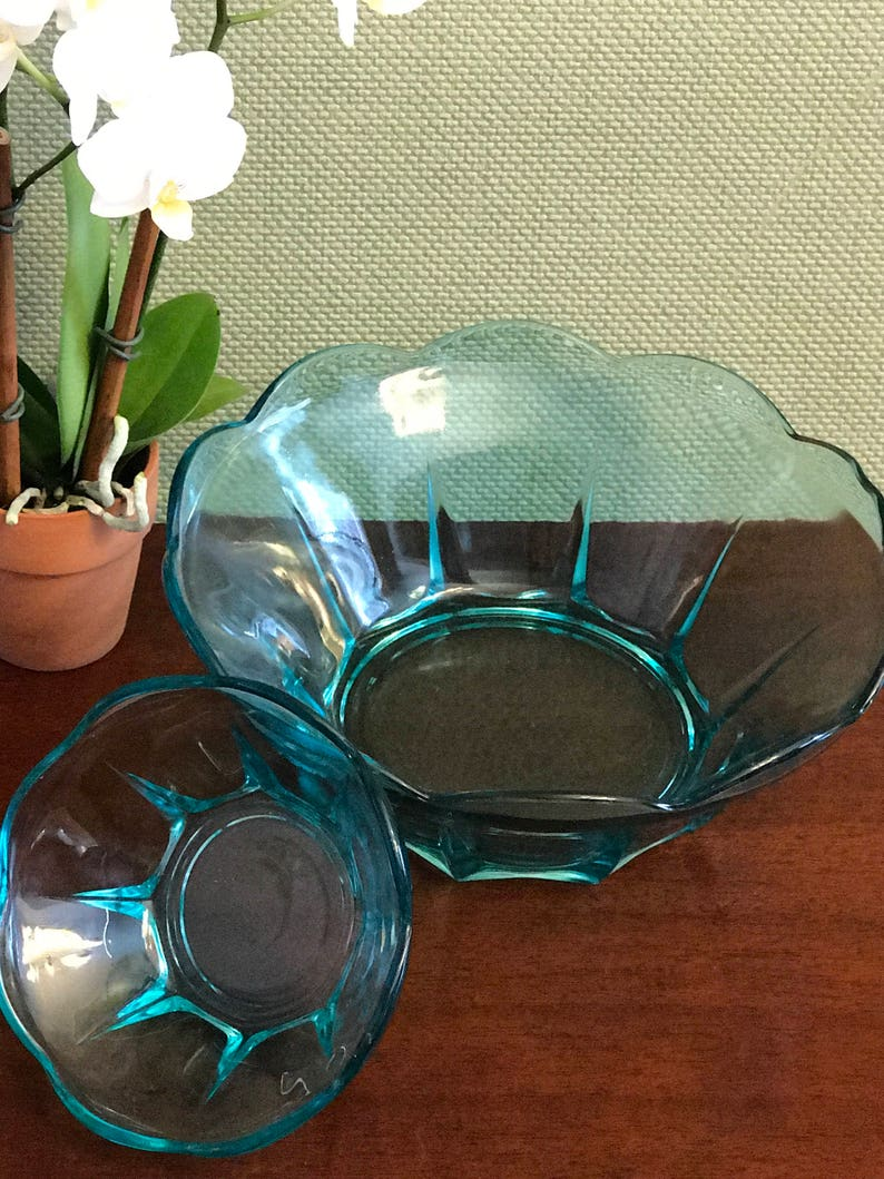 Anchor Hocking Swedish Modern serving bowl set party ware Collectible serving dishes gift for her turquoise Glass Vintage Chip Dip set
