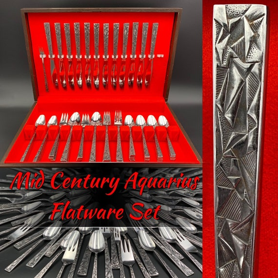 Mid Century Flatware Set, Rare Stainless Flatware Set Aquarius by Towle Supreme Cutlery with Silverware Chest