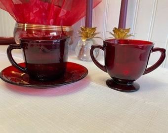 Royal Ruby Glass Cream and sugar set, Anchor Hocking Dishes