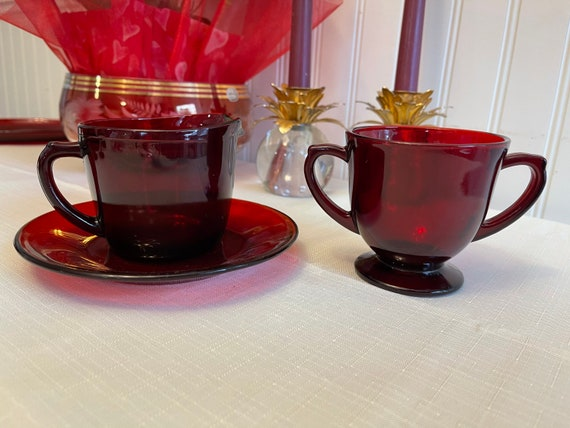 Royal Ruby Glass Cream and sugar set, Anchor Hocking Dishes
