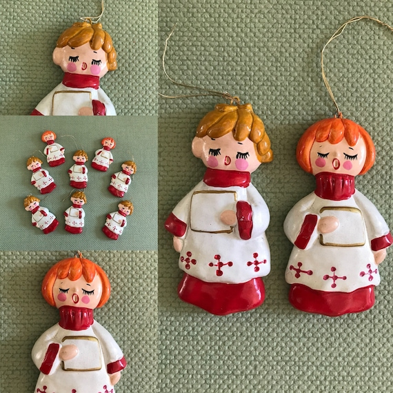 Vintage Chalkware Angel Ornaments, set of 8 Hand Painted Christmas Angel decorations, Angel Choir