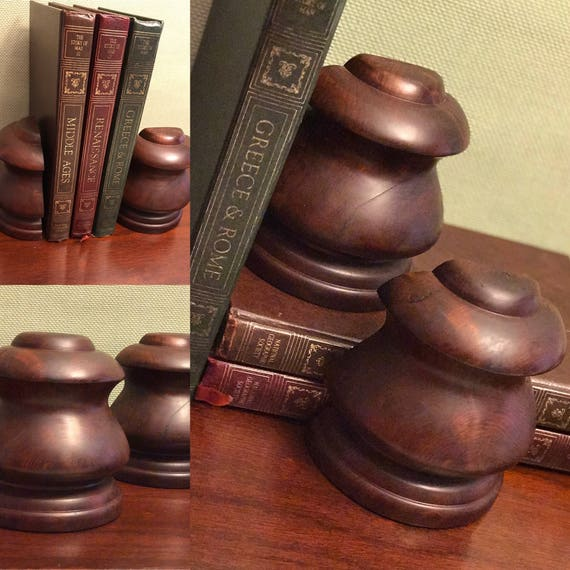 Vintage Wood Bookends, Finial Bookends, Dark Wood Bookends, Turned Wood, traditional office decor, library, Gift for Him, Book lovers gift