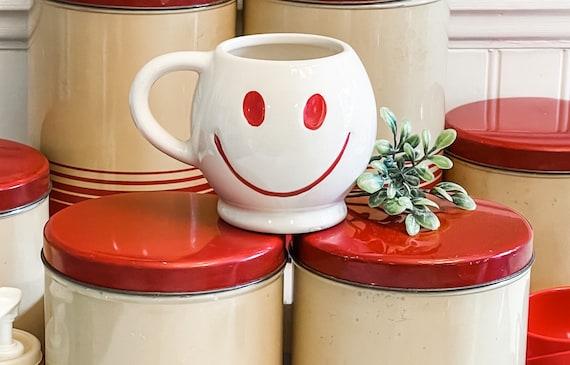 Vintage Smiley Face Mug, White and red Smiley Mug, Cheery Gift Emoji mug, planter