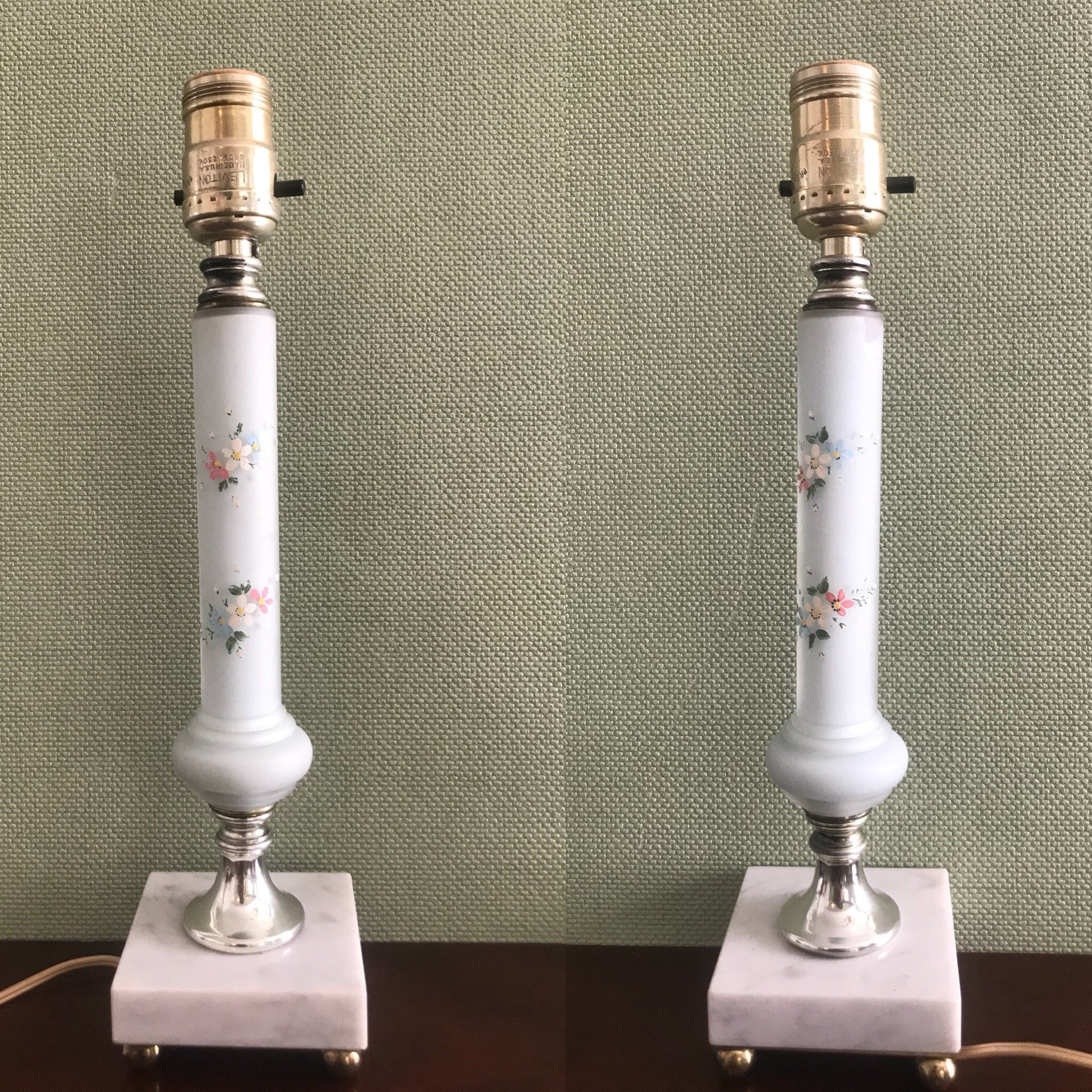 Vintage Satin Glass Lamps Pair Of Hand Painted Floral