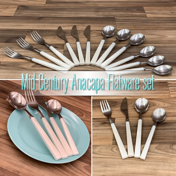 Anacapa Stainless Flatware set with White Plastic Handles, Rustic Cabin Vintage Trailer Camping Glamping