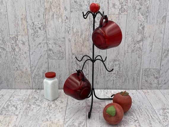 Rustic mug holder, Apple Mug Tree, Cup Hanger, kitchen organization