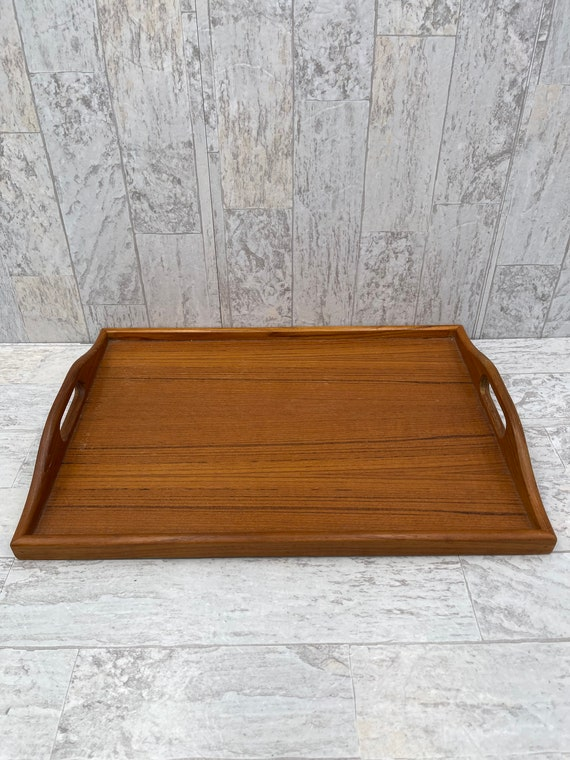 Vintage Serving tray, Teak Wood tray with handles, Rustic Farmhouse decor, outdoor entertaining