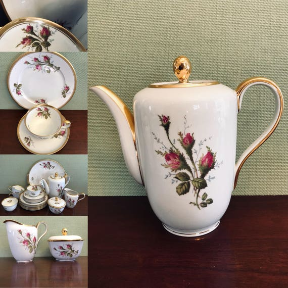 Rosenthal Coffee Service Tea Set, Gold Gilt Moss Rose Pattern, 1940s Luxury China, Helena line, complete set, Garden Tea Party, wedding gift