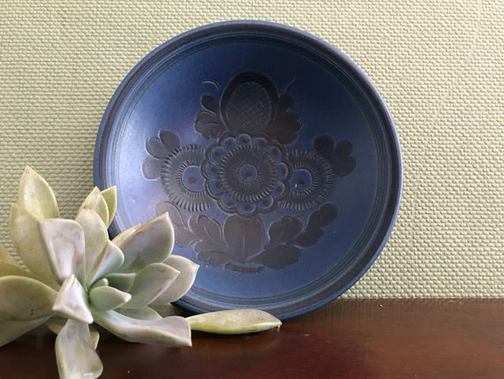 Mid Century Ceramic mini bowl Signed by artist Willy Kagel Jr, West Germany Art Ceramics, Rare wall art, Blue Floral Folk Art ceramics