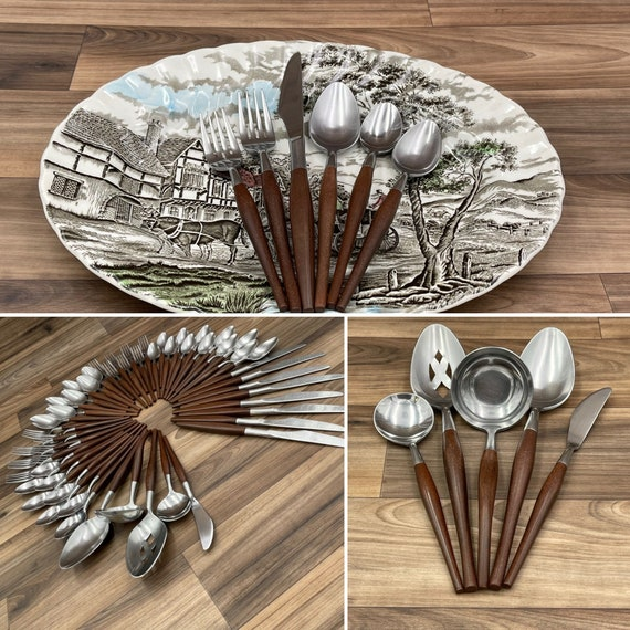 Danish Modern flatware Set, Wood style handle, Retro Silverware, Rustic home decor