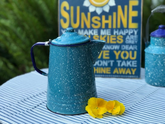 Vintage Turquoise Navy Graniteware hot water Pot, Enamel tea pot, rustic farmhouse, country kitchen, Glamping, Camping Gear, rustic Cabin