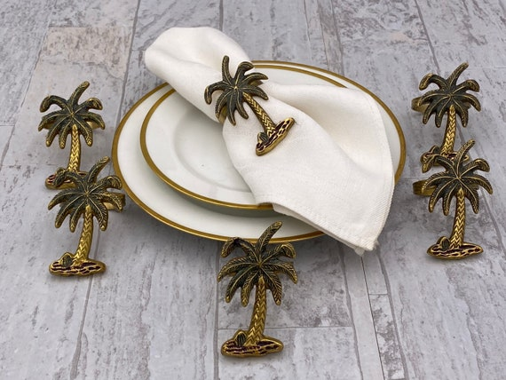 Vintage Brass Napkin Rings, 6 piece set Boho home decor