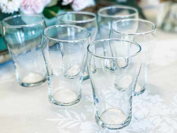Vintage Princess House small Coke style glasses, Heritage Pattern, collectible etched glasses