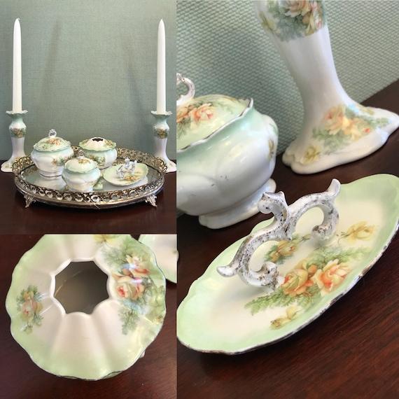 Antique French Limoges Vanity Dresser Set, Floral Porcelain From France, Gift for Her
