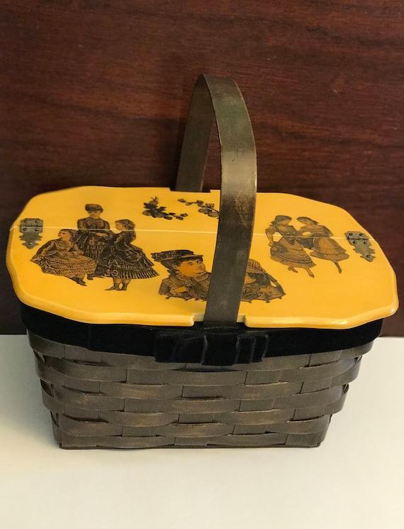 Vintage Decoupage Wood Basket Box Purse, Victorian Ladies Wood Purse, Granny Chic, Black velvet ribbon trim