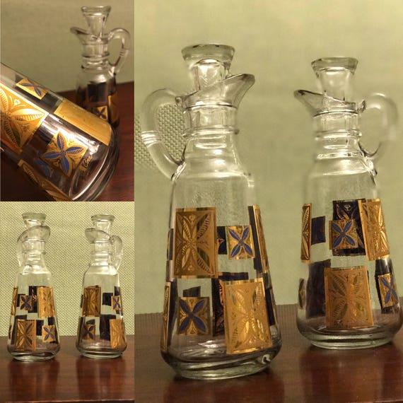 Mid Century Modern Cera Cruets, Gold Cruet Set, Rare Cera Cruet set, collectible Cruets, Holiday Serving Set, Cooking Gift, Foodie Gift
