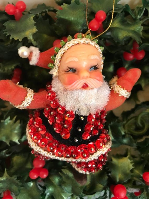 Vintage Beaded Sequined Santa Ornament, Red green Bauble, Ornate Handmade Ornament, Ornament exchange, Gift Ornament, Gift