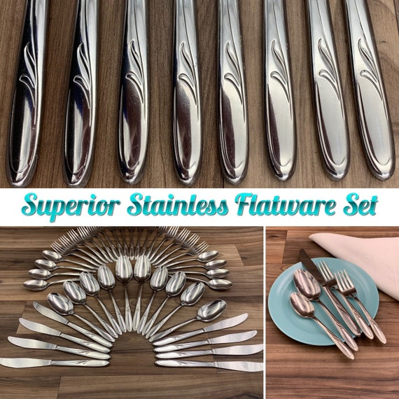 Vintage Stainless Flatware set Service for 8 Silverware set Superior Vibrant Pattern Made in USA Excellent Condition