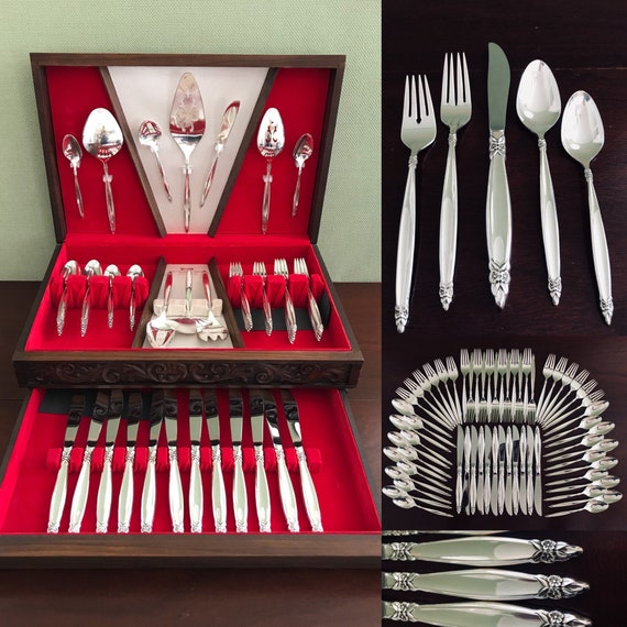 Silverware Set, Rogers 1847 Garland vintage flatware, Large 12 place settings, Original carved Chest, Hostess set, Gift for her, Wedding